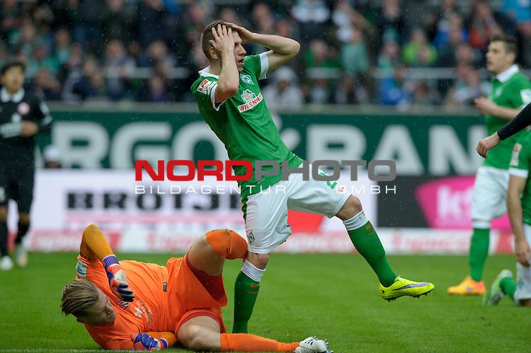 04.04.2015, Weserstadion, Bremen, GER, 1.FBL, Werder Bremen vs 1. FSV Mainz 05, im Bild Levent Aycicek (Bremen #21) &auml;rgert sich<br /> <br /> Foto &copy; nordphoto / Frisch