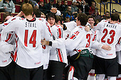 Team Canada celebrates their 4-2 victory over Team Russia to win the gold in the 2007 World Championship on Friday, January 5, 2007 at Ejendals Arena in Leksand, Sweden.