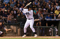 AFL West left fielder Buddy Reed (85), of the Peoria Javelinas and San Diego Padres organization, at bat during the Arizona Fall League Fall Stars game at Surprise Stadium on November 3, 2018 in Surprise, Arizona. The AFL West defeated the AFL East 7-6 . (Zachary Lucy/Four Seam Images)