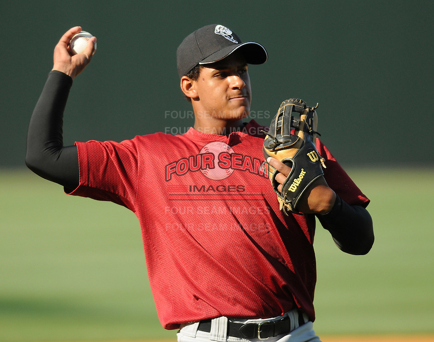 April 28, 2009: Infielder Jefry Marte (12) of the Savannah Sand Gnats prior to a game against the Greenville Drive at Fluor Field at the West End in Greenville, S.C. Marte is the No. 6 prospect of the New York Mets. Photo by: Tom Priddy/Four Seam Images