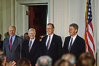 Washington DC., USA, September 14, 1993<br /> Former Presidents Ford, Carter, and Bush and current President Clinton attend the NAFTA signing ceremony in the East room of the White House. Credit: Mark Reinstein/MediaPunch