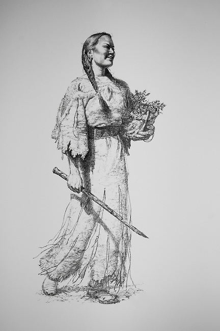 Illustration of the Shoshone woman Sakakawea (also known as Sacajawea), who Lewis and Clark met while stationed at Fort Mandan and guided the expedition to her people during their trek between 1804-1806 to trade with the Shoshone for horses.