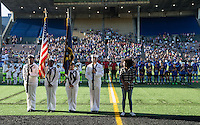 Seattle, WA - Saturday July 23, 2016: Color guard, national anthem singer prior to a regular season National Women's Soccer League (NWSL) match between the Seattle Reign FC and the Orlando Pride at Memorial Stadium.