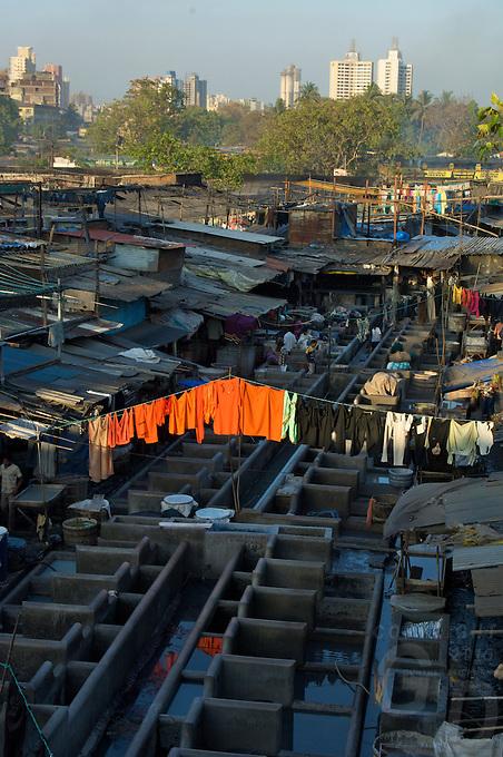Mumbai massive washing area, the general laundry, the extremes,Banganga area,Mumbai, India