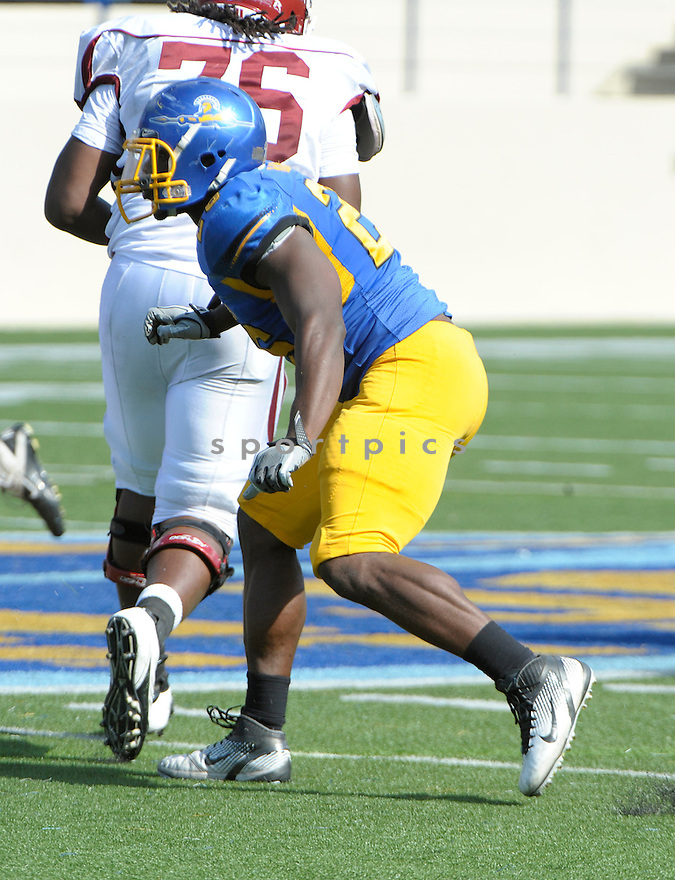 MOHAMED MARAH, of the San Jose State Spartans, in action during San Jose's game against the New Mexico State Aggies on September 24, 2011 at Spartan Stadium in San Jose, CA. San Jose beat New Mexico 34-24.