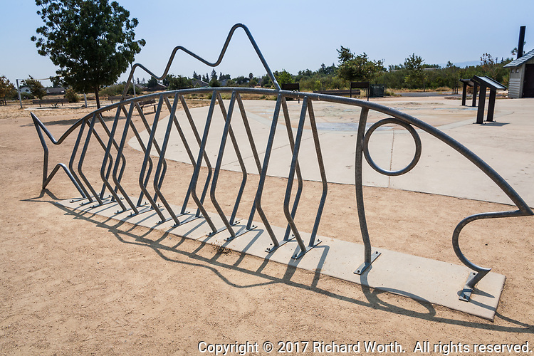 A bike rack at Big Break Regional Shoreline is art and function.