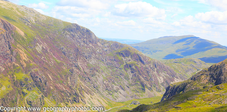 Looking down to Llanberis Pass from Mount Snowdon, Gwynedd, Snowdonia, north Wales, UK