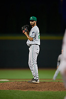 Clinton LumberKings pitcher Nathan Alexander (28) during a Midwest League game against the Great Lakes Loons on July 19, 2019 at Dow Diamond in Midland, Michigan.  Clinton defeated Great Lakes 3-2.  (Mike Janes/Four Seam Images)