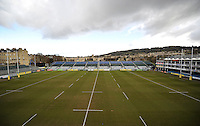 A general view of the Recreation Ground pitch prior to the match. Aviva Premiership match, between Bath Rugby and Northampton Saints on February 21, 2015 at the Recreation Ground in Bath, England. Photo by: Patrick Khachfe / Onside Images
