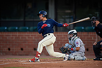 Mobile BayBears Jahmai Jones (15) at bat in front of catcher Rodrigo Vigil (1) during a Southern League game against the Jacksonville Jumbo Shrimp on May 7, 2019 at Hank Aaron Stadium in Mobile, Alabama.  Mobile defeated Jacksonville 2-0.  (Mike Janes/Four Seam Images)