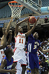 Winston-Salem Prep's Greg McClinton (11) battles for a rebound with Plymouth's Davonte Spruill, right, during the Phoenix' 61-49 win in the State Championship at the Dean Smith Center in Chapel Hill, NC, on Saturday, March 10, 2012.  Photo by Ted Richardson