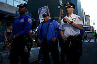 New York, USA. 1st May 2014. NYPD officers patrols during the annual 1 May day rally in New York.  Eduardo MunozAlvarez/VIEWpress