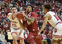 NWA Democrat-Gazette/CHARLIE KAIJO Arkansas Razorbacks guard Desi Sills (0) drives the ball during the first half of the NCAA National Invitation Tournament, Saturday, March 23, 2019 at the Simon Skjodt Assembly Hall at the University of Indiana in Bloomington, Ind. The Arkansas Razorbacks fell to the Indiana Hoosiers 63-60.