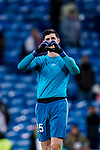 Goalkeeper Thibaut Courtois of Real Madrid greets to the fans after the La Liga 2018-19 match between Real Madrid and Rayo Vallencano at Estadio Santiago Bernabeu on December 15 2018 in Madrid, Spain. Photo by Diego Souto / Power Sport Images