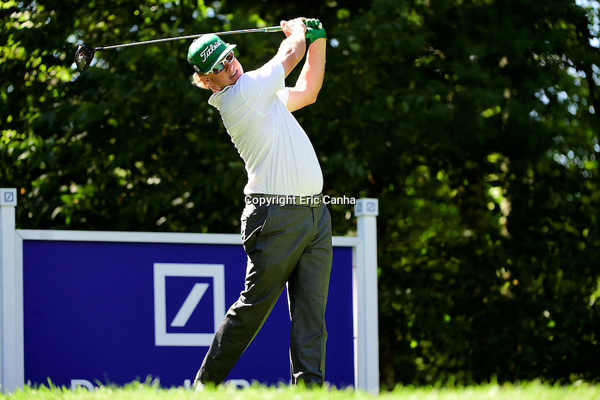 Friday, September 2, 2016:  Charley Hoffman watches the flight of his ball down the 9th fairway during the first round of the Deutsche Bank Championship tournament held at the Tournament Players Club, in Norton, Massachusetts.  Eric Canha/Cal Sport Media