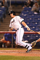 Binghamton Mets outfielder Travis Taijeron (18) at bat during a game against the Bowie Baysox on August 3, 2014 at NYSEG Stadium in Binghamton, New York.  Bowie defeated Binghamton 8-2.  (Mike Janes/Four Seam Images)