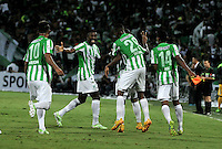 MEDELLIN- COLOMBIA – 03-12-2014: Los Jugadores de Atletico Nacional de Colombia celebran el gol anotado a River Plate de Argentina durante partido de ida de la final de la Copa Total Suramericana entre Atletico Nacional de Colombia y River Plate de Argentina en el estadio Atanasio Girardot de la ciudad de Medellin. / The players of Atletico Nacional of Colombia celebrate the goal scored to River Plate of Argentina during a match for the first leg of the final between Atletico Nacional of Colombia and River Plate of Argentina of the Copa Total Suramericana in the Atanasio Girardot stadium, in Medellin city. Photo: VizzorImage / Luis Ramirez/ Staff.