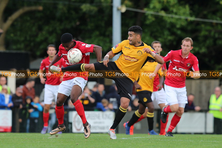 Merstham's Michael Abneit challenges for the ball during Merstham vs Ebbsfleet United, Emirates FA Cup Football at Weldon Way on 15th October 2016