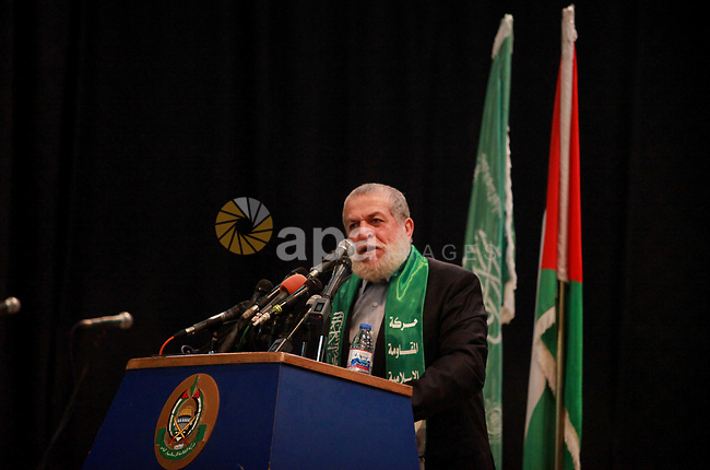 leader of Islamic Jihad Nafez Azzam speaks during a memorial service for Hamas senior leader Imad al-Alami in Gaza City, 03 February 2018. According to reports, al-Alami was died on 30 January due a shot in the head he reportedly sustained while cleaning his weapon in Gaza.. Photo by Ashraf Amra