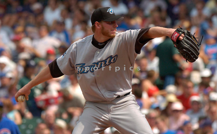 Roy Halladay of the Toronto Blue Jays in action against the Chicago Cubs. ....Blue Jays lost 0-2.....David Durochik / SportPics..