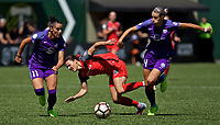 Portland, OR - Saturday April 15, 2017:  Alanna Kennedy, Ali Krieger and Hayley Raso during a regular season National Women's Soccer League (NWSL) match between the Portland Thorns FC and the Orlando Pride at Providence Park.