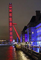 London Eye and County Hall all lit up at night. London on Saturday February 10th 2018<br /> CAP/ROS<br /> &copy;ROS/Capital Pictures
