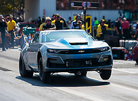 Sep 29, 2019; Madison, IL, USA; NHRA factory stock driver XXXX during the Midwest Nationals at World Wide Technology Raceway. Mandatory Credit: Mark J. Rebilas-USA TODAY Sports