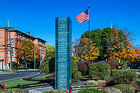 Elmwood Park flag and glass sculpture.