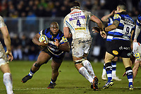 Beno Obano of Bath Rugby in possession. Aviva Premiership match, between Bath Rugby and Exeter Chiefs on March 23, 2018 at the Recreation Ground in Bath, England. Photo by: Patrick Khachfe / Onside Images