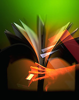 Abstract graphic montage of a hand and book.