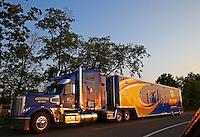 May 29, 2013; Englishtown, NJ, USA: The car hauler of NHRA funny car racer Ron Capps pulls into Raceway Park. Mandatory Credit: Mark J. Rebilas-