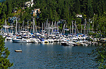View of boats  and homes in Deep Cove,Vancouver, British Columbia, Canada.