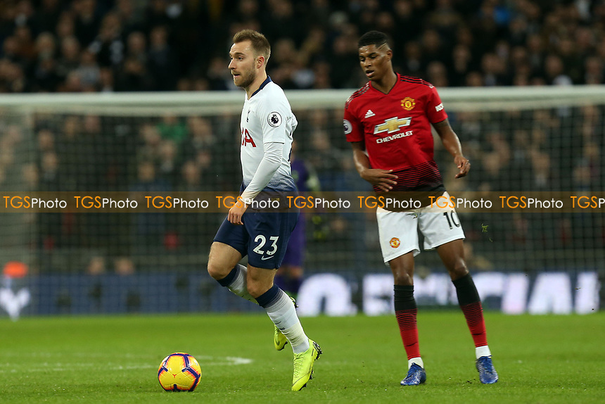 Marcus Rashford of Manchester United and Christian Eriksen of Tottenham Hotspur during Tottenham Hotspur vs Manchester United, Premier League Football at Wembley Stadium on 13th January 2019