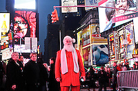 A man dressed as Santa Claus  takes part at the Santacon's Annual Festival at Times Square in New York, United States. 14/12/2012. Photo by ZAMEK