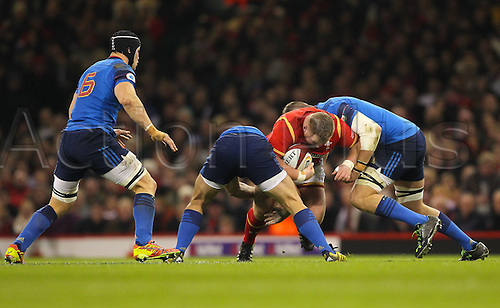 26.02.2016. Principality Stadium, Cardiff, Wales. RBS Six Nations Championships. Wales versus France. Wales Samson Lee in action during the match