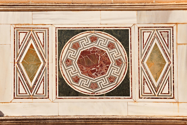 4th cent. AD geometric wall mosaics of the late Roman period Jewish synagogue of Sardis.  Sardis archaeological site, Hermus valley, Turkey. Discovered in 1962 as part of an on going  Harvard Art Museum excavation project.