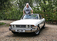 BNPS.co.uk (01202 558833)<br /> Pic: Historics/BNPS<br /> <br /> Back to the future...even the famous Francis mullet is still in place - the immaculate motor was bought as a birthday present for the ex footballer in 2012.<br /> <br /> A classic sports car belonging to former England international footballer Gerry Francis has emerged for sale for £20,000.<br /> <br /> The 1976 Triumph Stag has been with Francis since 2012 when it was given to him as a surprise gift from his son.<br /> <br /> It is identical to another motor the ex QPR midfielder owned during the height of his playing career in the 1970s.