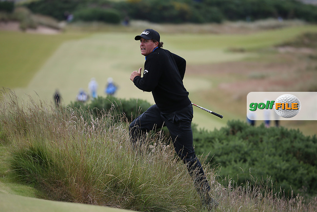 Phil Mickelson (USA) plays out of the rough on the 7th during Round Three of the 2016 Aberdeen Asset Management Scottish Open, played at Castle Stuart Golf Club, Inverness, Scotland. 09/07/2016. Picture: David Lloyd | Golffile.<br /> <br /> All photos usage must carry mandatory copyright credit (&copy; Golffile | David Lloyd)
