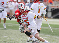 College Park, MD - April 22, 2018: Maryland Terrapins Kyle Berkeley (15) in action during game between Ohio St. and Maryland at  Capital One Field at Maryland Stadium in College Park, MD.  (Photo by Elliott Brown/Media Images International)