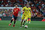 Spain national team player Mikel Oyarzabal and Sweden national team player Filip Helander during UEFA EURO 2020 Qualifier match between Spain and Sweden at Santiago Bernabeu Stadium in Madrid, Spain. June 10, 2019. (ALTERPHOTOS/A. Perez Meca)