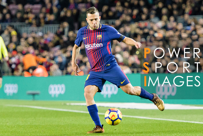 Jordi Alba of FC Barcelona runs with the ball during the La Liga 2017-18 match between FC Barcelona and Deportivo La Coruna at Camp Nou Stadium on 17 December 2017 in Barcelona, Spain. Photo by Vicens Gimenez / Power Sport Images