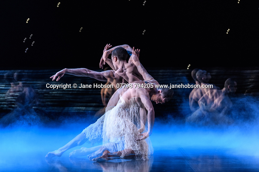 "London, UK. 07.12.2018. Matthew Bourne's ""Swan Lake"" returns to Sadler's Wells Theatre, for a run until Sunday 27th January 2019. Choreographed by Matthew Bourne, with lighting design by Paule Constable and costume design by Lez Brotherston. Dancer are: Matthew Ball (The Swan), Liam Mower (The Prince), Nicole Kabera (The Queen), Katrina Lyndon (The Girlfriend), Glenn Graham (The Private Secretary), Megan Cameron (The Hungarian Princess), Freya Field (The German Princess), Zanna Cornelis (The Romanian Princess), Nicole Alphonse, Jonathan Luke Baker, Tom Broderick, Kayla Collymore, Keenan Flethcer, Bryony Harrison, Parsifal James Hurst, Jack Mitchell, Harry Ondak-Wright, Ashley-Jordan Packer, Jack William Parry, Stan West, Carrie Willis. Picture shows: Matthew Ball (The Swan - multiple exposure). Photograph © Jane Hobson."