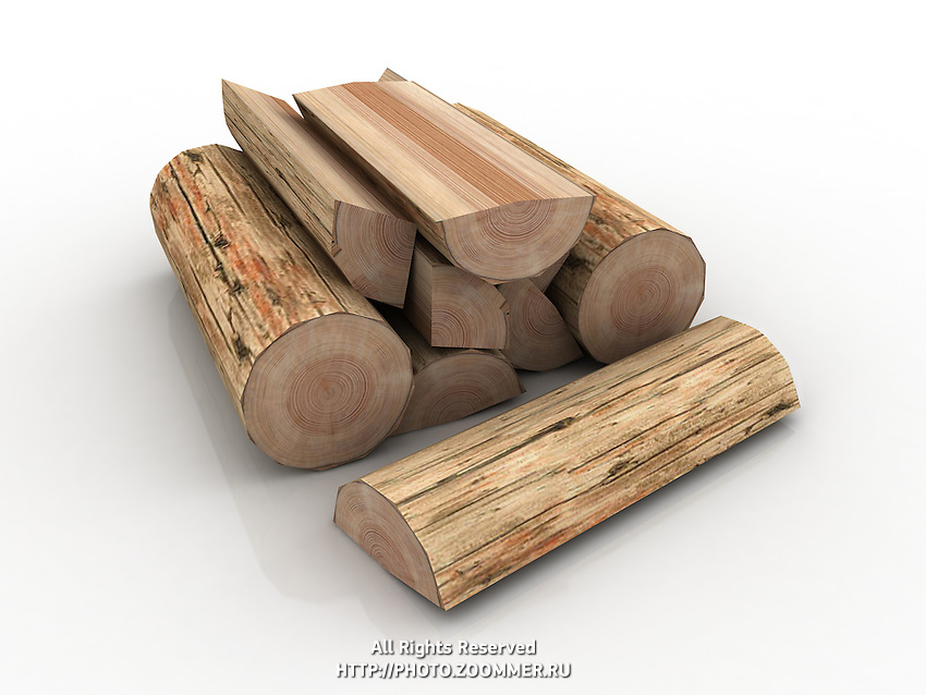 Logs, fire wood in pile on white background