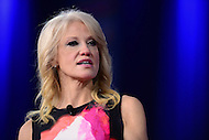 National Harbor, MD - February 23, 2017: Kellyanne Conway, advisor to President Donald Trump, speaks to attendees of the Conservative Political Action Conference at the Gaylord Hotel in National Harbor, MD, February 23, 2017.  (Photo by Don Baxter/Media Images International)