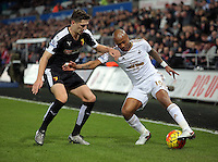 (L-R) Craig Cathcart of Watford against Andre Ayew of Swansea during the Barclays Premier League match between Swansea City and Watford at the Liberty Stadium, Swansea on January 18 2016