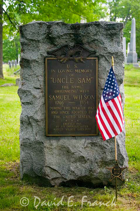 Samuel Wilson's grave at Oakwood Cemetery in Troy, New York. Better known as Uncle Sam, his portrait was used for the I WANT YOU Army recruiting poster from World War I.