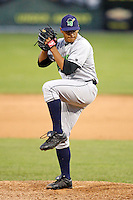 July 3, 2009:  Pitcher Alejandro Ramos of the Jamestown Jammers delivers a pitch during a game at Dwyer Stadium in Batavia, NY.  The Jammers are the NY-Penn League Short-Season Class-A affiliate of the Florida Marlins.  Photo by:  Mike Janes/Four Seam Images