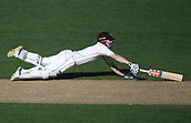 25th March 2018, Auckland, New Zealand;  Henry Nicholls dives as he avoids being run out. New Zealand versus England. 1st day-night test match. Eden Park, Auckland, New Zealand. Day 4