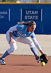 March 10, 2012:   San Diego Toreros second baseman Jessica Tieszen fields the ball against the Nevada Wolf Pack during their NCAA softball game played as part of the The Wolf Pack Classic at Christina M. Hixson Softball Park on Saturday in Reno, Nevada.