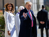 United States President Donald J. Trump (R) and First Lady Melania Trump (L) depart after attending services at St. John's Episcopal Church in Washington, DC, USA, 17 March 2019. The Trumps attended church on St. Patrick's Day.<br /> Credit: Erik S. Lesser / Pool via CNP